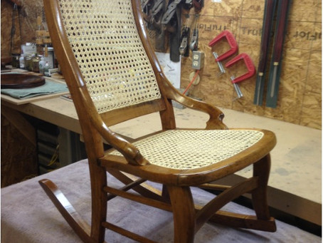 19th Century Caned Maple Rocking Chair