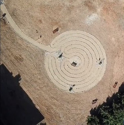 Aerial of completed labyrinth