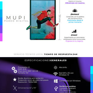 "Mupi / Tótem Digital 55"" de Pared"