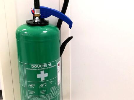 Produit | Douche portative 9L EUROFEU pour brûlés thermiques ou chimiques