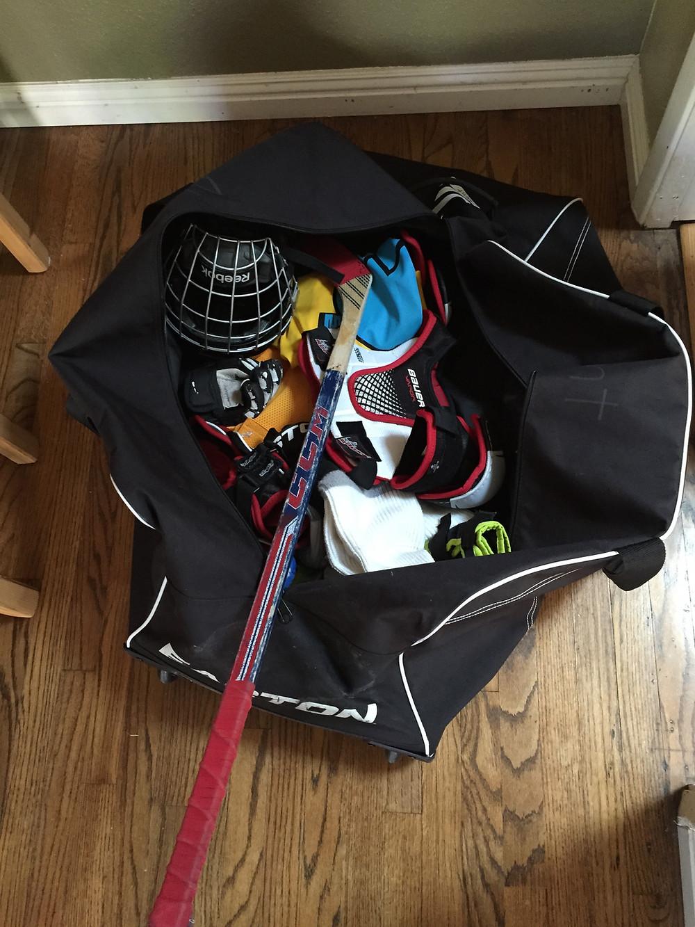 """Kent's old hockey bag, a.k.a. """"The Black Hole."""""""