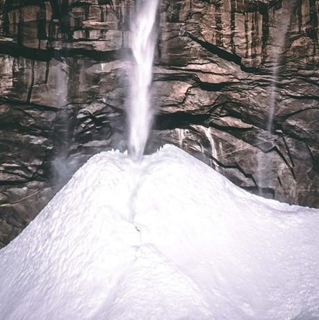A snowed fall in upper Yosemite