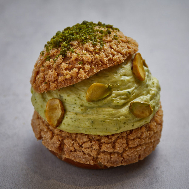 PISTACHIO CHOUX pistachio, grape seed oil, butter, sugar, wheat flour, butter, eggs