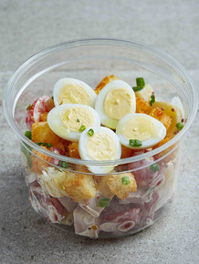 PIEMONTAISE SALAD Baby potatoes, French ham, quail eggs, red radishes and emmental cheese are the crucial ingredients in this salad. A light mixture of mayonnaise and grainy mustard give the salad a lovely creamy rich taste.