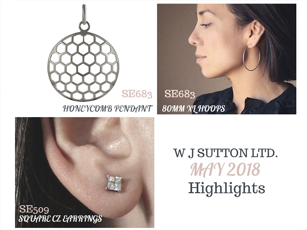 Hoop earrings, honeycomb pendant, square cz earrings.