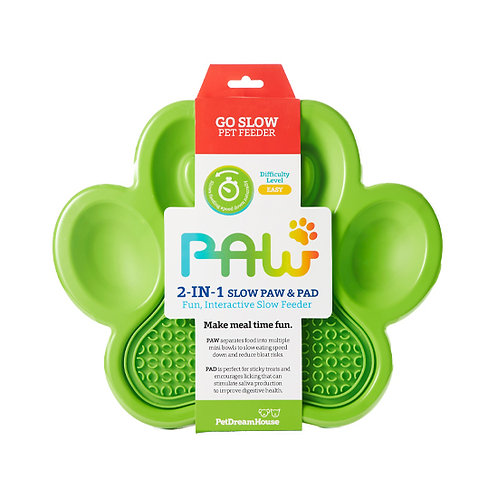 PAW 2-in-1 Slow Feeder Bowl & Lick Pad Combo - Green