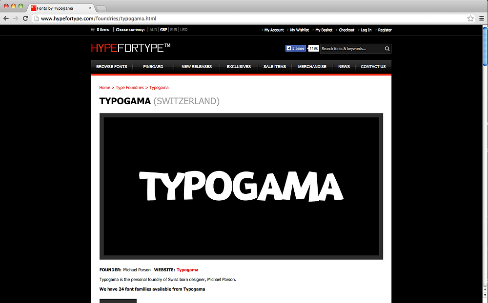 Hype for Type website