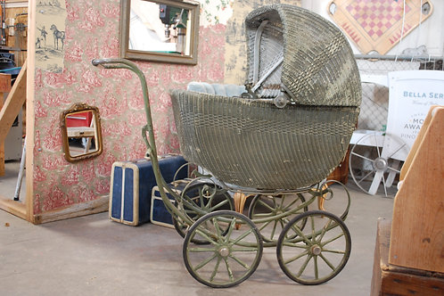 vintage wicker baby buggy decor party event photography rental