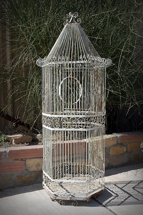 vintage, bird cage, metal, white, decor, wedding, rental