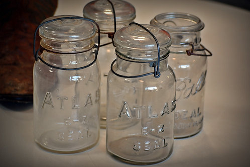 wire top canning jars, decor, vintage, pint