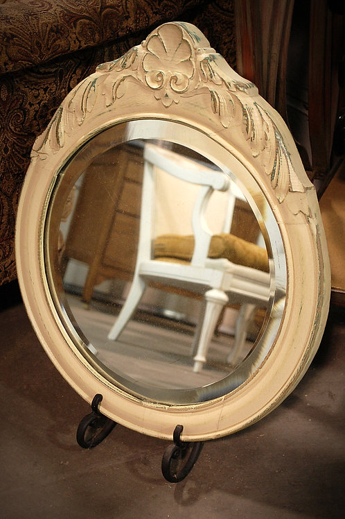 vintage, beveled, mirror, round, white, decor, display