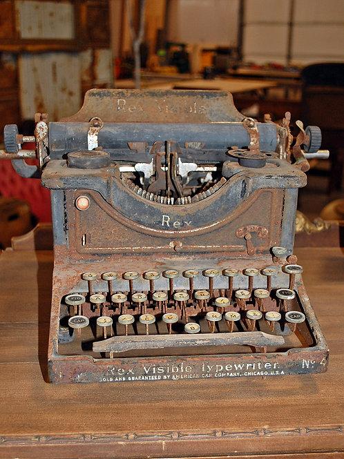 rex visible #4, typewriter, vintage, rusty, metal, prop, rental