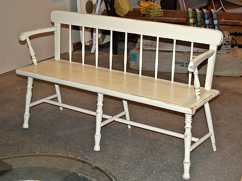 """Clara"" White Wood Bench {3 seat}"