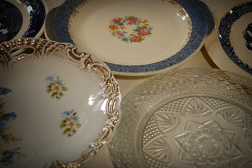 plates, serving, round, oval, decor, party, rental