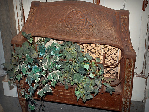 cast iron, open flame heater, decor, rustic, rental