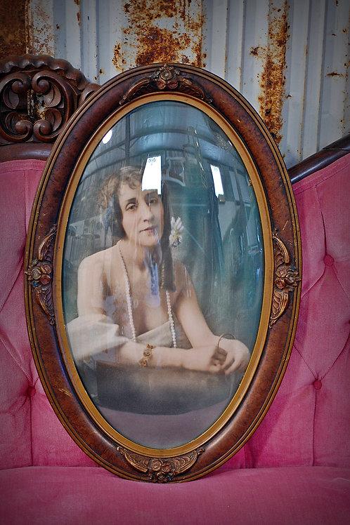 antique, frame, oval, bubble glass, 1920's, portrait, decor, staging