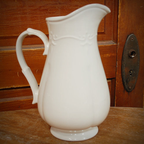water pitcher, white, serving, decor, table top, event, rental