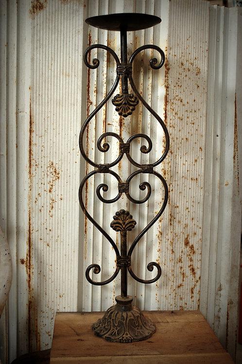 rusty, metal, candlestick, column, table top, center piece, decor, rental