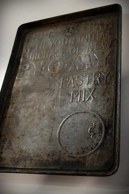 pyomy pastry pan, metal, kitchen, decor, prop, rental