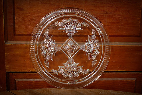 cake plate, etched glass, serving, table top, decor, party, event, rental, display
