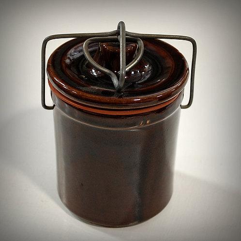 brown, glazed, crock, jar, decor, serving