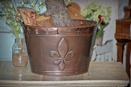 metal, firewood, bucket, decorative, fleur de lis, serving