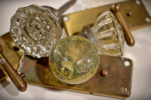 vintage, door knobs, glass, metal, decorative, rental, table top