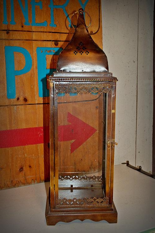 lantern, antique brass finish, candle, lighting, decor, prop, event, rental