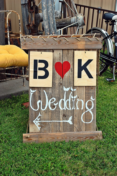 wedding sign, initials, directional, road side