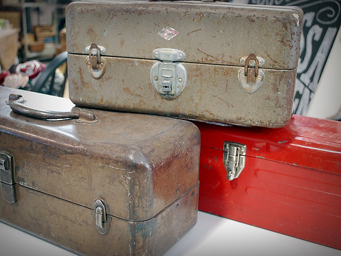 metal, toolbox, tacklebox, assorted, serving, vessel