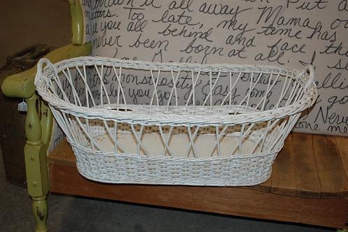 white basket, bassinet, decor, photo op
