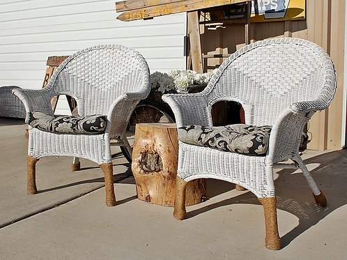 """Lillian"" White Wicker Lounge Chairs"