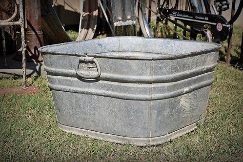 square metal galvanized wash tub
