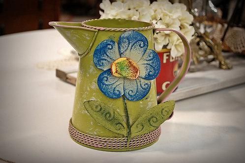 green, decorative, metal, pitcher, display, serving