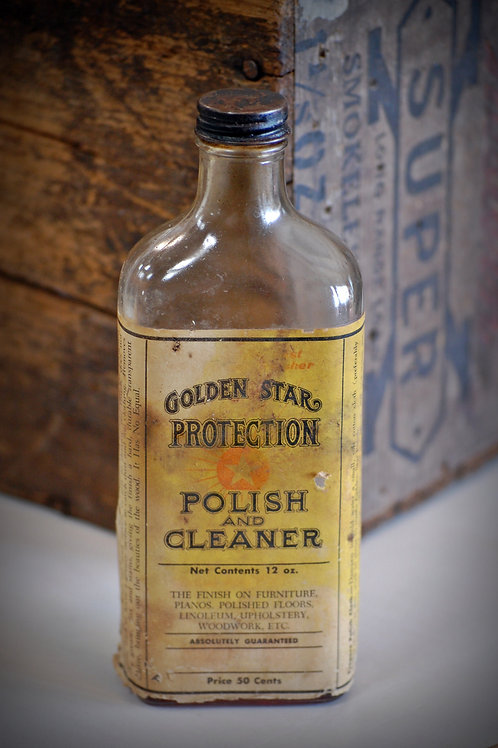 vintage, gold star polish, glass bottle, decor, table top