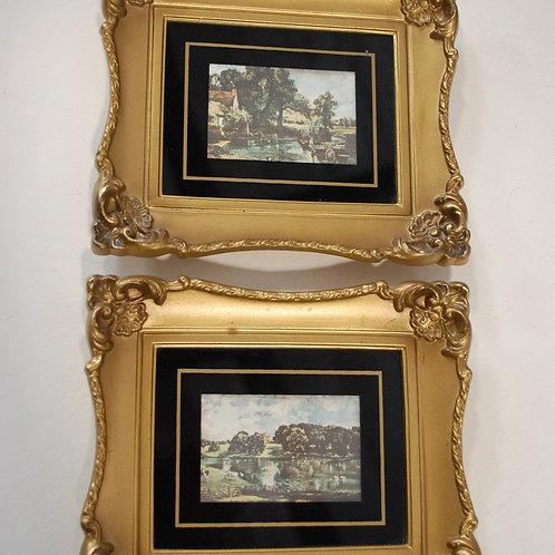 landscape picture, gold, frame, decor, table top design, reception