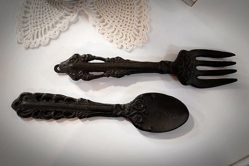 cast iron, fork, spoon, wall decor, rental