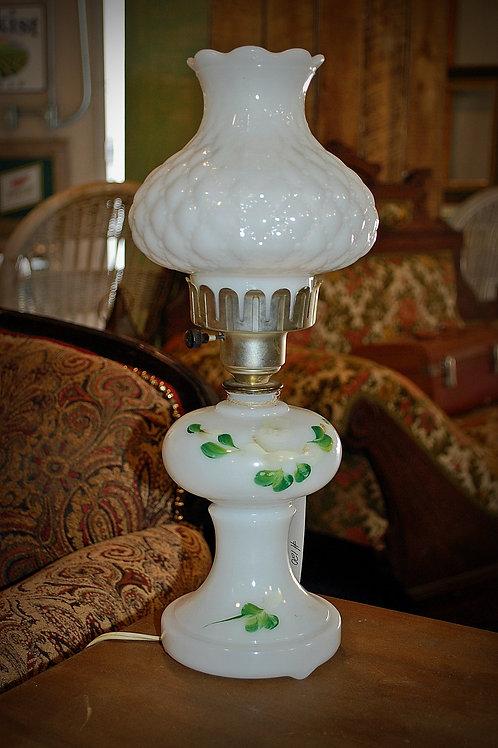 milk glass, oil lamp, lighting, table top, decor, prop, rental