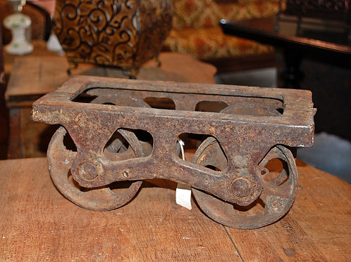 vintage, primative, cast iron, furniture dolly, decor, prop, rental, serving, table top, cake stand