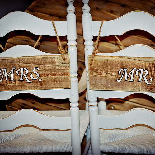 Mr and Mrs sign, reception, bride and groom seating, chair