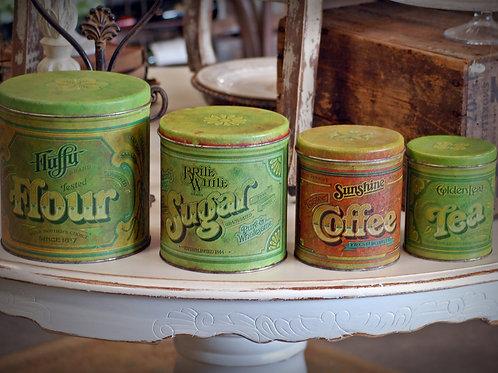 vintage, metal, canister set, flour, sugar, coffee, tea, serving, display