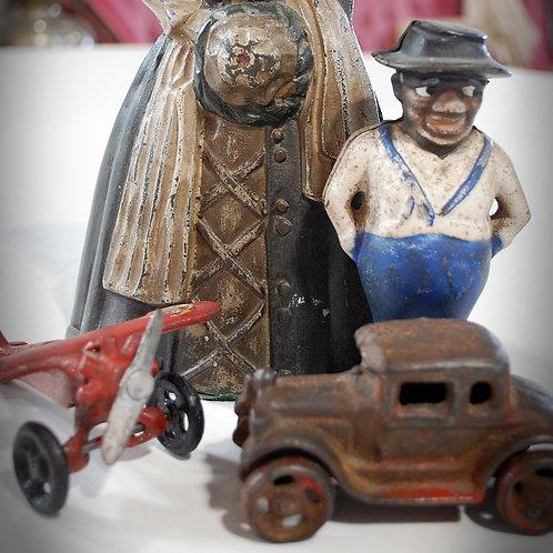 vintage cast iron toys decor party event rental