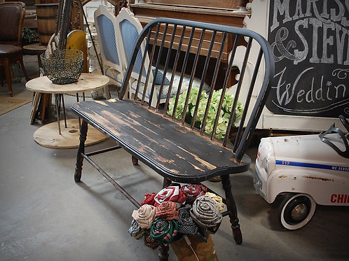 """Maude"" Black Wood Bench {2 seat}"