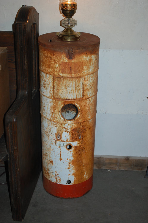shop heater casing, metal, rusty, decor, prop, rental, wedding