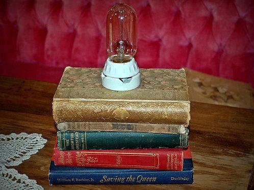 book lamp, table top, decor, lighting, custom, rental