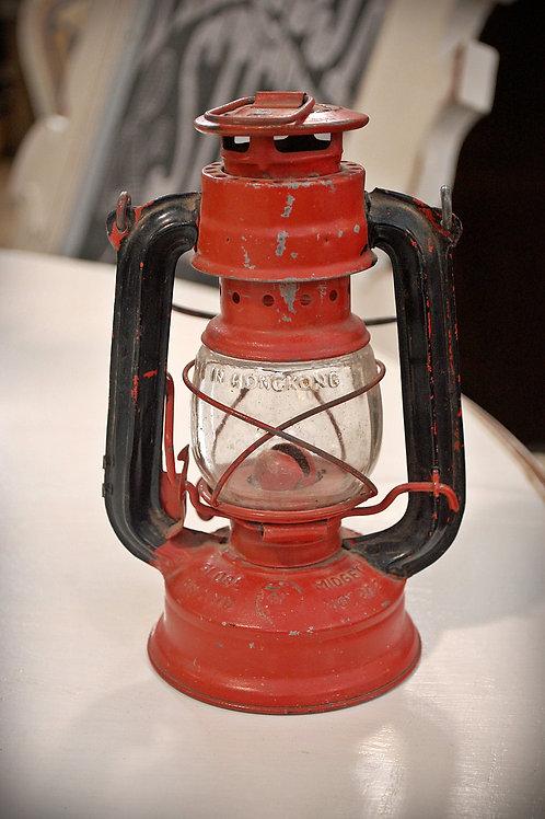 red, metal, lantern, decor, table top, rental