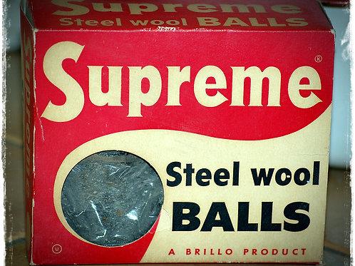 supreme steel wool, vintage, decor, prop, rental