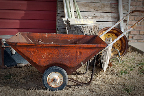 vintage, wheel barrow, rusty metal, decor, serving, wedding, rental