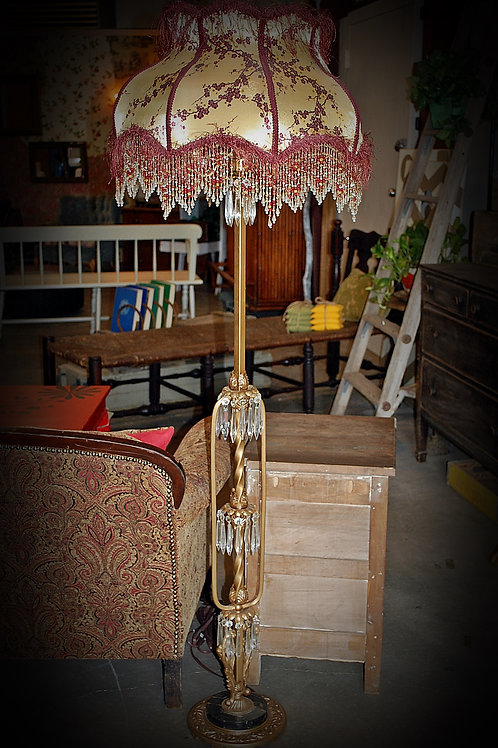 gold w/ glass prism floor lamp, lighting, decor, prop, event, rental