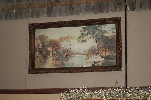 scenic painting, ornate frame, decor, reception, staging